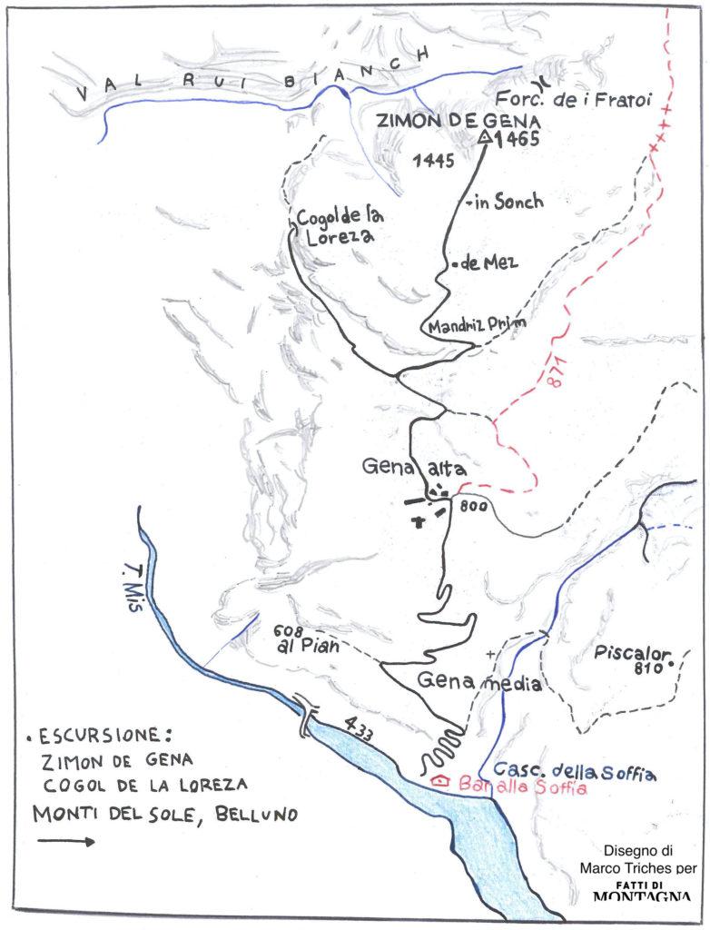 Mappa del trekking al Zimon de Gena nelle dolomiti bellunesi