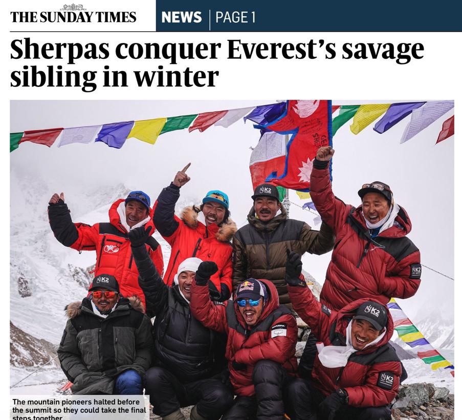 Titolo Sunday Times 1 Prima invernale al K2 e il sogno di 68 anni fa di Tenzing Norgay